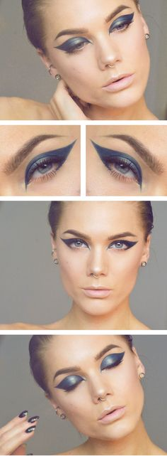 Blue Metallic cat eye look - Linda Hallberg - Nails Art, Hair Styles, Weight Loss and More!! : www.crazymakeupideas.com