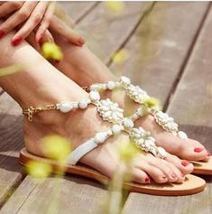Bohemian Flat Peep Toe Date Flat Sandals - gifthershoes Pearl Shoes, Pearl Sandals, Rhinestone Sandals, Flat Gladiator Sandals, Wedge Sandals, Beach Wedding Shoes, Women Oxford Shoes, Shoes Women, Swatch