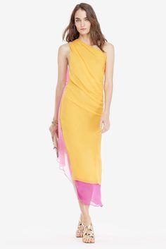DVF Nori Chiffon One Shoulder Draped Goddess Dress