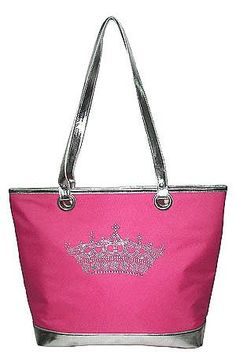 Lexington Fashion Queen Crown Tote  This wonderfully Top zipped closure Queen Collection Bag Has the looks and function of beauty, with contracting metallic color bottom and handles, fully lined interior With matching solid color lining, With Inner Side Wall Zipper And Two Inner Pockets. you're sure to love this one!!!  Approximate Size: 13L x 10.5H x 5W