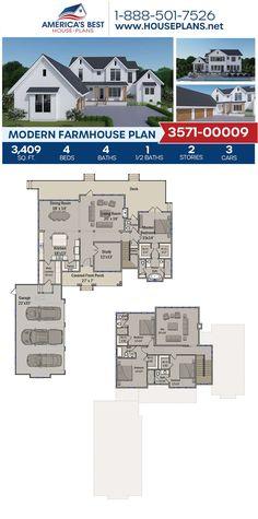 Modern Farmhouse Plan 3571-00009 3d House Plans, Best House Plans, Dream House Plans, Cabin Plans, Modern Farmhouse Design, Modern Farmhouse Exterior, Roof Styles, Build Your Dream Home, Open Floor