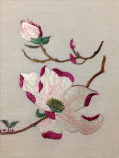 Silk on linen magnolia