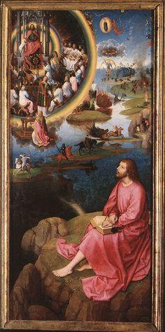 Les quatre cavaliers de l'apocalypse ; Hans Memling (Selingenstadt autour de 1440 – Bruges 1494) ; huile sur panneau de chêne ; 173.6 x 173.7 cm pour le panneau central ; 176 x 78.9 cm pour chaque panneau de côté ; 1474-79 ; retable de saint Jean ; Bruges,