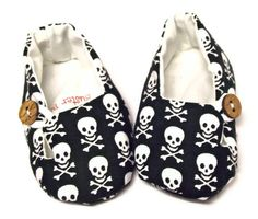 Baby Shoes. Slippers. Fabric. Booties. Halloween Skulls. Punk Rockabilly Baby. Vegan Friendly.. $28.00, via Etsy.