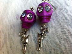 Dia de Los Muertos Purple Skull Gun Earrings with by Hankat, $14.00