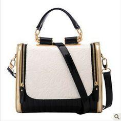 Coelho 2013 moda bloco de cores preto e branco do vintage feminino bolsa de um mensageiro de ombro corpo cruz bolsa inMessenger Saco das mulheres ...