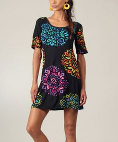 Take a look at the Black & Blue Abstract T-Shirt Dress on #zulily today!