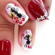 Ants and Bees Style Nail Arts By nail polish Sexy Nails, Cute Nails, Pretty Nails, Nail Polish Style, Cute Spring Nails, Animal Nail Art, Girls Nails, French Tip Nails, Types Of Nails