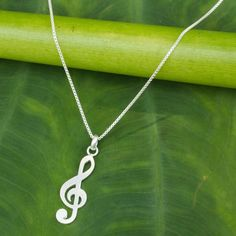 NOVICA Music Key Sterling Silver Thai Necklace (49 AUD) ❤ liked on Polyvore featuring jewelry, necklaces, accessories, joias, pendant, sterling silver, sterling silver jewelry, pendants & necklaces, hand crafted jewelry and box chain necklace