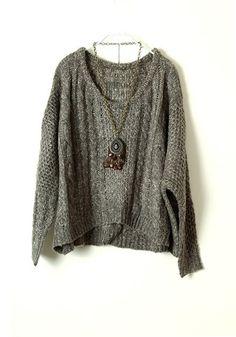 Gray Round Neck Bat Sleeve Wool Blend Sweater