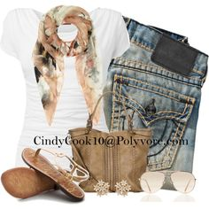 White Tee with Scarf, created by cindycook10 on Polyvore