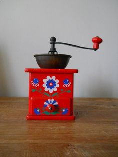 Vintage Robert Zassenhaus Coffee Grinder in Red with White and Blue Flowers