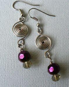 spiral wire dangle earrings