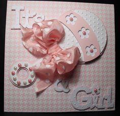 Cricut baby girl card - Inspiração de convite de chá de bebê