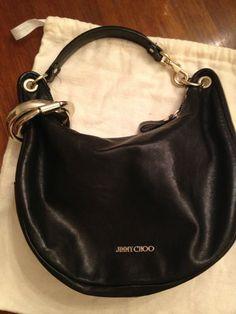 Jimmy Choo - black leather hobo bag