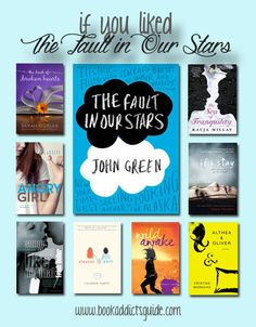 Looking for books similar to The Fault in Our Stars? The Book Addict's Guide has a handy graphic + details about each recommendation! Ya Books, I Love Books, Good Books, Teenage Books To Read, Books For Teens, English Novels, John Green Books, Eleanor And Park, The Fault In Our Stars