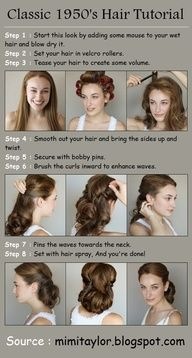 Steps : 1 : Start this look by adding some mouse to your wet hair and blow dry it. 2 : Set your hair in velcro rollers. 3 : Tease your hair to create some volume. 4 : Smooth out your hair and bring th 1950s Hair Tutorial, Cabelo Ombre Hair, Retro Hairstyles, Vintage Hairstyles Tutorial, 1950s Hairstyles For Long Hair, Hairstyle Tutorials, Updo Hairstyle, Wedding Hairstyles, Style Hairstyle