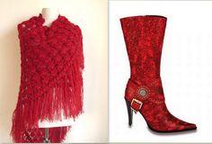 DARK RED Crochet shawl
