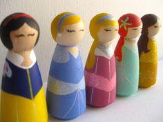 Princess Dolls / Toy / Decoration / Wooden Peg People. $75.00, via Etsy.