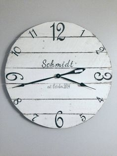 Personalized White Reclaimed Wood Wall Clock  by Shabs2RichesVintage