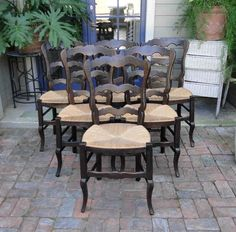 Antique French Dining Chairs Rush Seats Scalloped  Ladder Back Stretchers #FrenchCountry #CraftsmenoftheEra