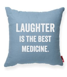 - Share the power of laughter with our modern decorative pillow. - Color: Brown, Cream, Gray, Red, Blue. - Material/Color: Brown (Burlap: 100% Jute); Cream (Muslin: 100% Cotton); Gray/Red/Blue (55% Li