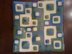 Original Fused Glass Art by Cathy Thompson.  Retro squares.