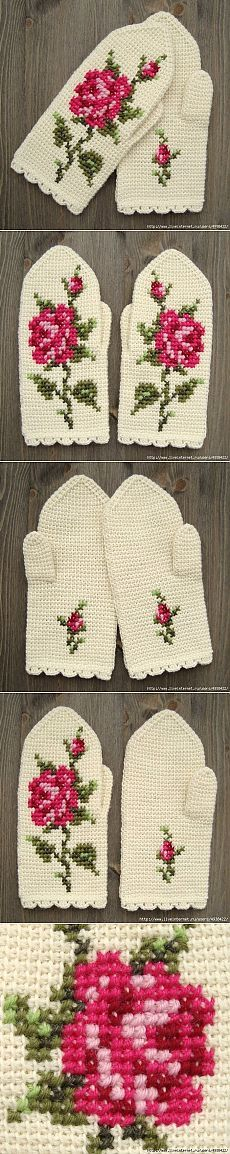 Tunisian crochet.  Mittens with a rose.  SCHEME