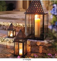 Shop Frontgate's outdoor lanterns and garden lighting options include unique gel burning lights and lanterns to enhance your all weather areas. These pathway lanterns put off a subtle glow perfect for entertaining. Lanterns Decor, Candle Lanterns, Patio Lanterns, Hurricane Lamps, Flameless Candles, Copper Fire Pit, Driven By Decor, Patio Lighting, Candle Lighting