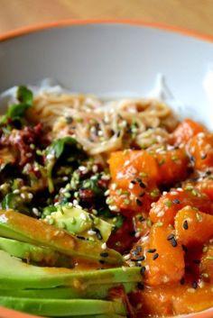 Vegetarian bo bun, rice noodles, butternut and avocado - vegan - Asian Recipes Healthy Crockpot Recipes, Healthy Eating Recipes, Veggie Recipes, Healthy Cooking, Asian Recipes, Beef Recipes, Vegetarian Recipes, Vegan Vegetarian, Healthy Food