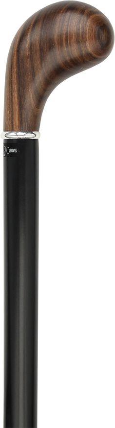 Ovangkol Knob Handle Walking Stick With Black Beechwood Shaft and Silver Collar
