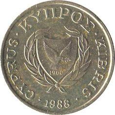 1 Cent #Cipro - 1983-2004 Rappresenta lo stemma dello stato: una colomba con un ramoscello di ulivo e l'anno dell'independenza 1960.