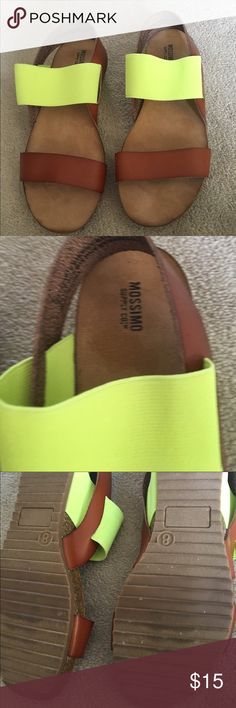 Mossimo sandals Lime green and brown leather sandals. Great condition. Only worn a few times. Very comfortable. Mossimo Supply Co Shoes Sandals