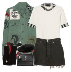 """Untitled #2133"" by roxy-camarena on Polyvore featuring MadeWorn, Monki, Levi's, GUESS, Larose and Yves Saint Laurent"