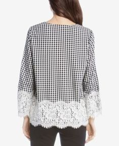 Karen Kane Checkered Lace-Trim Top, Created for Macy's - Check L