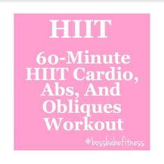 60 Minute HIIT Cardio And Abs Workout - Fitness Blender Tabata HIIT, Abs, And Obliques Workout ---> https://www.youtube.com/watch?v=s3zAG4zvVpc&index=47&list=PL5lPziO_t_ViN5Mu1b17pTIGHfHgXf_Bi