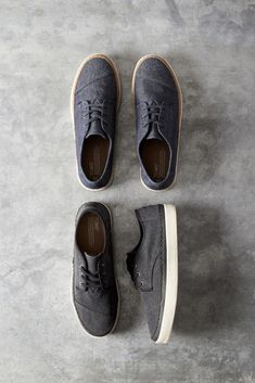 2e7361a2c8 Black Washed Canvas or Navy Denim Men's Paseo Sneakers. These low-top shoes  make getting ready easy with optional lacing. Click to shop sneakers for  him.