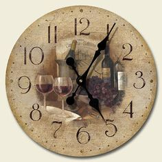 Wooden wall clock vintage wine grapes kitchen decor ebay