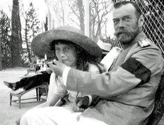 Princess Anastasia smoking with her father, Tsar Nicholas II - 1916