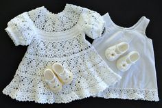 Baby Girl Lace Dress with Mary Janes Crochet Pattern and Slip Pattern Printable Baby Afghan Crochet Patterns, Baby Patterns, Sweater Patterns, Dress Patterns, Knitting Patterns, Christening Outfit, Christening Gowns, Crochet For Kids, Crochet Baby