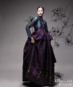 Modernized hanbok, Korean dress, in dark violet and navy. Style Oriental, Oriental Fashion, Ethnic Fashion, Asian Fashion, Look Fashion, Unique Fashion, High Fashion, Korean Traditional Dress, Traditional Fashion