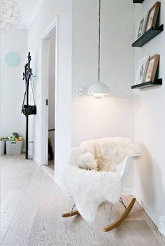 Reading corner. A splash of wall paper for some fun would be perfect... dropitmodernHOME.COM