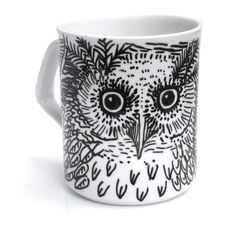 Night Owl Mug - original sketch of an owl on a white ceramic mug