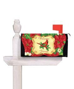 Imperial Elegant Poinsettia 'Welcome Friends' Mailbox Cover #zulily #zulilyfinds