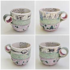 Slab built with underglaze transfers Ceramic Pottery, Asia, Ceramics, Jewellery, Mugs, Tableware, Ceramica, Pottery, Jewels
