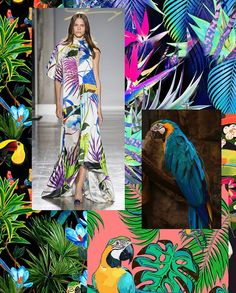 New Spring/Summer 2020 Print Trend 'Bird Life' is now live on our site. Spring/Summer 2020 is full of tropical gardens where exotic birds display their brightly coloured plumes amongst the dense folia Tropical Flowers, Tropical Gardens, Tropical Colors, Tropical Pattern, Color Patterns, Print Patterns, Tropical Background, Fashion Forecasting, Summer Prints