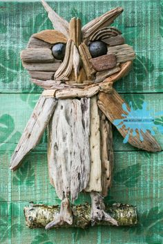 Print or Canvas: Driftwood Owl Pallet Art Reproduction Wall Decor Choose Lustre Fine Art Print or Gallery Wrapped Canvas