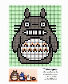 Totoro Hama Beads Pattern post by wememade Hama Beads Design, Hama Beads Patterns, Beading Patterns, Embroidery Patterns, Habbo Pixel, Pixel Art Grid, Totoro, Grille Pixel Art, Crochet Pixel