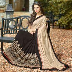 Light Golden & Black Color Half Georgette & Half Shimmer Georgette Foil Designer Party Wear Sarees : Namanshi Collection  YF-42755