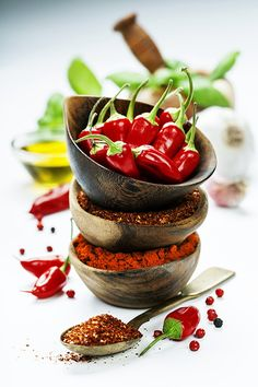 chili peppers with herbs and spices - Red Hot Chili Peppers with herbs and spices over white background - cooking or spicy food concept